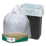"Webster Reclaim White Trash Bags, 13 Gallon, 0.7 Mil, 24"" x 31"", Box of 150"