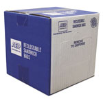 Webster Recloseable Zipper Seal Sandwich Bags, 1.15mil, 6.5 x 5.875, Clear, 500/Box