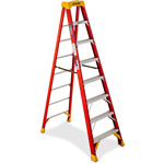 Werner Fiberglass Stepladder, 8Ft, Orange