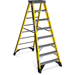 Werner Fiberglass Step Ladder, Type IAA, 8Ft, Yellow/Silver