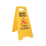 "Update International Yellow Wet Floor Sign, 24"" x 12"""