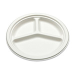 "Bridge-Gate 10"" 3 Compartment White Sugarcane Plate"