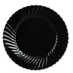 "WNA Comet Disposable 10.25"" Plastic Plates, Black, 18 Packs of 10"