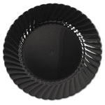 "WNA Comet Disposable 6"" Plastic Plates, Black, 10 Packs of 18"
