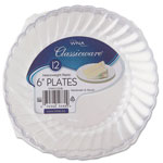 "WNA Comet Classicware Plastic Plates, 6"" Dia., Clear, 12 Plates/Pack, 15 Packs/Carton"