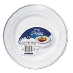 "WNA Comet Masterpiece Plastic Dinnerware, White/Silver, 10 1/4"", 10/Pack"