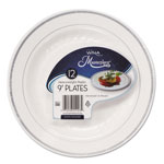 WNA Comet Masterpiece Plastic Plates, 9 in, White w/Silver Accents, Round, 10/Bag