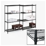 Alera Wire Shelving Add On Unit, 48w x 24d x 72h, 4 Shelves, Black