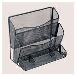 Rolodex Mesh Two Pocket File Stand with Organizer, Black, 13 7/8w x 8d x 12 1/2h