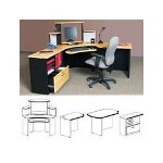 Maxon Furniture Gemba Modular Compu Corner Unit, Honey Alder, 36w x 36d x 51h