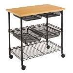 Alera PW75-3220BL Mobile Copier/Fax Machine Stand w/Wire Shelving, 32w x 20d x 30h, Cherry Top