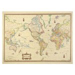 American Map Antique World Map with Full Color Graphics, 50w x 38h
