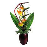 "Nudell Plastics Artificial Tropicals with Wood Vase, 24"" High"