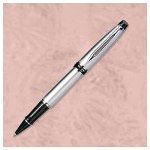 Waterman Expert II Roller Ball Pen, Fine Point, Black Lacquer/Gold, Black Ink