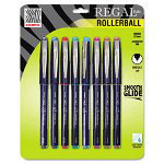 Zebra Pen Regal Roller Ball Stick Pen, Assorted Ink, Needle, 8 per Pack