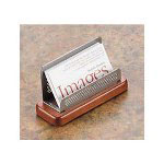 Eldon Distinctions Punched Metal & Wood Business Card Holder, Black Metal/Cherry Wood