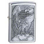 Zippo Brushed Chrome, HD Made In The USA Eagle & Globe Emblem