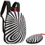 ZIPIT Shellbags Backpack, w/Glasses Case, 2 Pcs, Black/White