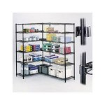 Safco Wire Shelving Industrial 4 Shelf Add On Unit, 36w x 18d x 72h, Black