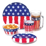 Stars & Stripes 12piece Combo Dinnerware Set w/Bonus 24oz Tankard