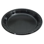 "Genpak Disposable 10.25"" Plastic Plates, Black, Case of 400"