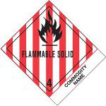 "Box Partners 4"" x 4 3/4"" ""Flammable Solids, N.O.S."" Label"