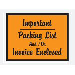 "Box Partners 4 1/2"" x 6"" Orange Script ""Important Packing List And/Or Invoice Enclosed"" Full Face"
