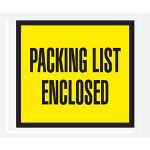 "Box Partners 4 1/2"" x 5 1/2"" Yellow ""Packing List Enclosed"" Full Face"