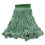 Rubbermaid Super Stitch Blend Mop Heads, Cotton/Synthetic, Green, Medium