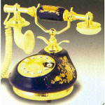 Golden Eagle Porcelain Phone, Royal Blue & Gold