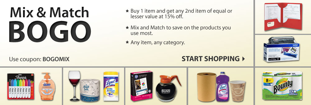 Mix & Match BOGO. Buy 1 item and get any 2nd item of equal or lesser value at 15% off!