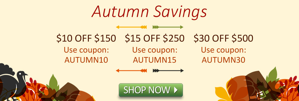 Autumn Savings! Get up to $30 off.