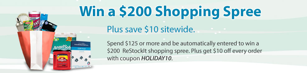 Spend $125 or more and be automatically entered to win a $200 ReStockIt shopping spree plus save $10 sitewide.