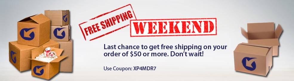 Free Shipping Weekend Sale. Last chance to get free shipping on your order of $50 or more.  Don't wait! Use Coupon: XP4MDR7