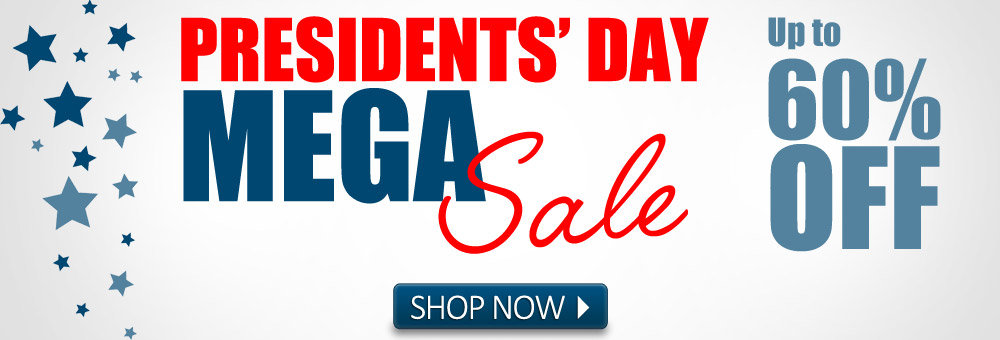 Get up to 60% off during the Presidents' Day MEGA Sale.