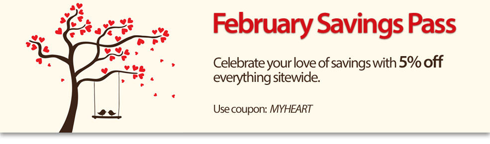 Celebrate your love of savings with 5% off sitewide. Use coupon: MYHEART
