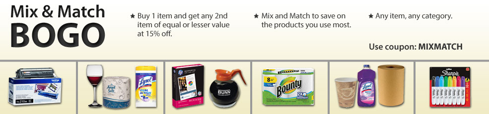 Mix & Match BOGO - Buy 1 item and get any 2nd item of equal or lesser value at 15% off.  Any item, any category.  Mix and Match to save on products you use most.  Use coupon: MIXMATCH.