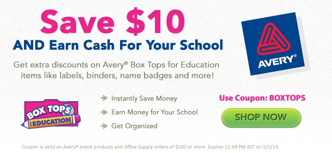 Save money and earn cash for you school with Avery Box Tops