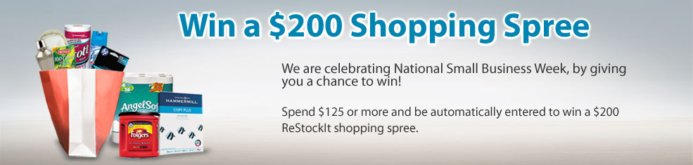 Who doesn't want to win a $200 Shopping Spree! Spend $125+ and be automatically entered to win a $200 ReStockIt e-gift certificate.