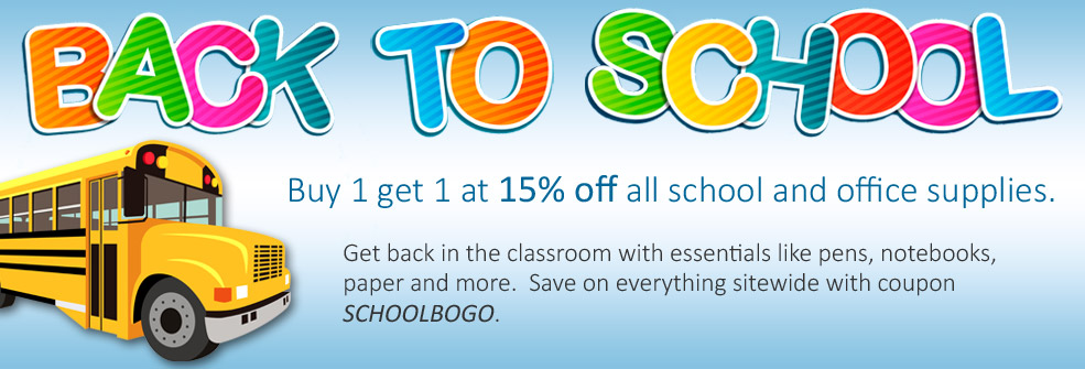 Back to School BOGO | Buy 1 get 1 at 15% off all school and office supplies.