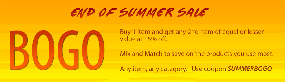 BOGO | Buy 1 item and get any 2nd item of equal or lesser value at 15% off with coupon  SUMMERBOGO
