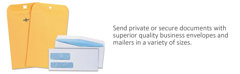 Send private or secure documents with superior quality business envelopes and mailers in a variety of sizes.