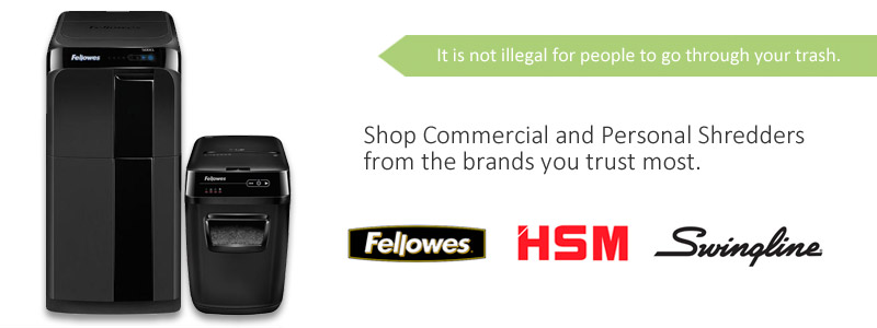 Shop Commercial and Personal Shredders from the brands like Fellowes, HSM and Swingline.