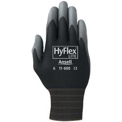 Ansell HyFlex Lite Gloves, Size 8, Black/Gray