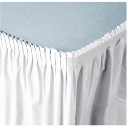 Creative Converting Plastic Tableskirt White 14'