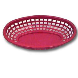 Tablecraft Medium Red Plastic Oval Basket