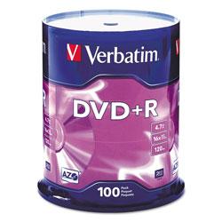 Verbatim 100 x DVD+R - 4.7 GB 16X - Spindle - Storage Media