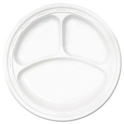 Dart Famous Service Plastic Dinnerware, Plate, 3-Comp, 10 1/4 in dia, White, 500/Carton