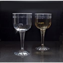 EMI Yoshi Plastic Flute Wine Goblet, 8 OZ, Clear