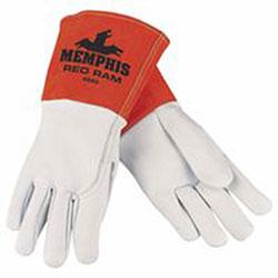 Memphis Glove Goat Mig/Tig Welders Gloves, Prem Grade Grain Goatskin/Split Cowhide, LG, White